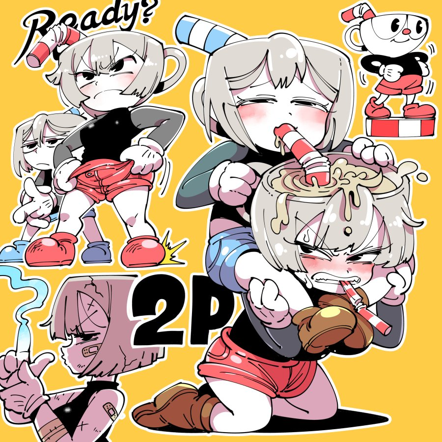 x cuphead 18  mugman Touch the cow do it now anime